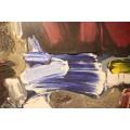 Patrick Danion, Painting, Acrylic on wood, Signed, 1989, France.