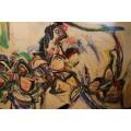 Patrick Danion, Nature morte, Painting, Acrylic on wood, Signed, 1988, France.