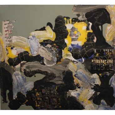 Patrick Danion, Painting, Acrylic and collage on paper, 1990, France.