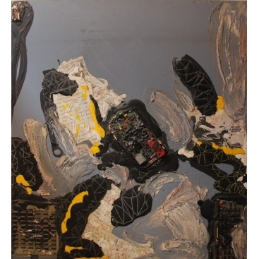 Patrick Danion, Painting, kermesse, Acrylic on wood, 1990, France.
