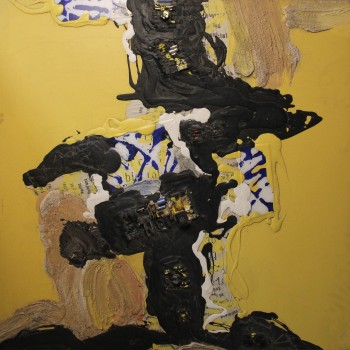 Patrick Danion Painting, Just a yellow one, Acrylic on paper, 1990 France.