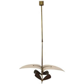 Chandelier, Gilded Brass and Opaline Glass, Circa 1960, Italy