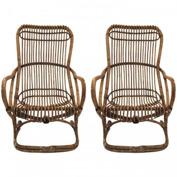 Pair of armchairs, Bamboo, Circa 1970, Italy.