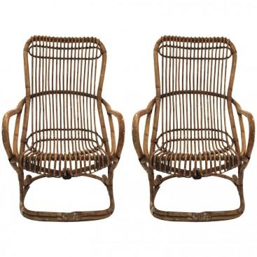 Pair of armchairs, Bamboo, Circa 1970, Italy.