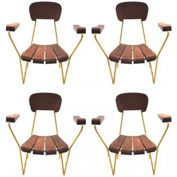 César Janello (1918-1985), Set of four armchairs, Circa 1955, Brazil.