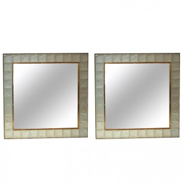 "Ghiró Pair of ""Pastis"" Wall Mirrors, Gold Brass and Crystal Glass, Circa 2000, Italy."