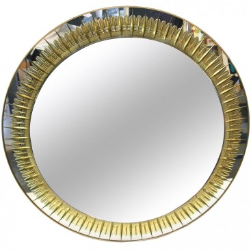 Crystal Art, Round Wall Mirror, Circa 1970, Italy.
