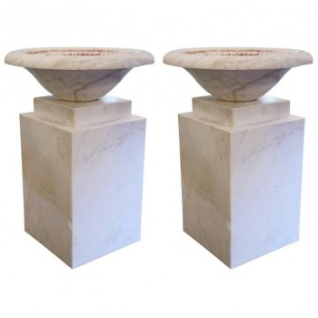 Set of Four of Decorative Columns, White Marble Veined Cubic, Circa 1960, France.