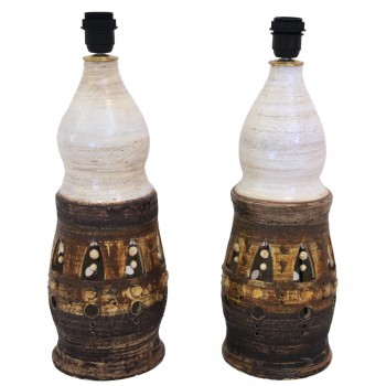 Georges Pelletier, Pair of Table Lamps, Glazed ceramic, Circa 1980, France.