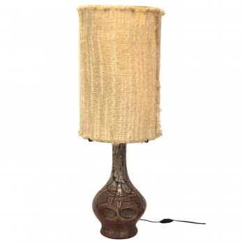 Accolay Pottery Table Lamp, Varnished Ceramic, Signed, Circa 1970, France.