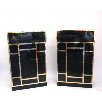Pair of Consoles in the Style of Maison Jansen, Lacquered Wood, Circa 1970, France.