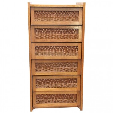 Buffets in the Style of Audoux-Minet, Wood and Wicker, Circa 1970, France.