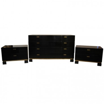 Sideboard and Pair of Drawers, Lacquered Wood and Gilt Brass, Circa 1970, France.