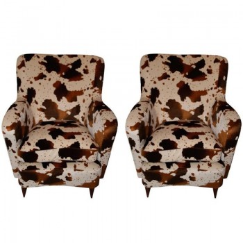 "Pair of Armchairs, Fabric Imitation ""Foal"", Circa 1960, France."