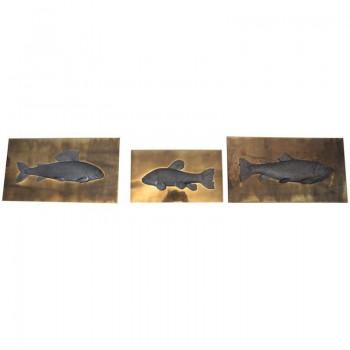 "Set of Three ""Fish"" Panels, Studio E Designo, Signed and Numeroted, 1973, Italy."