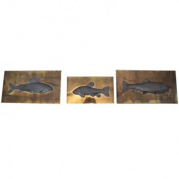 "Set of Three ""Fish"" Panels, Studio E Designo, Signed and Numeroted, 1973, Italy."