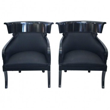 Pair of Neoclassical Armchairs, Black Lacquered Wood, Circa 1970, Austria.