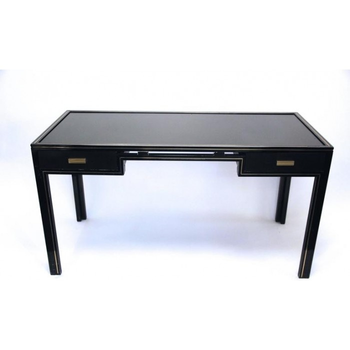 pierre vandel bureau bois laqu noir et laiton dor circa 1970 france harter galerie. Black Bedroom Furniture Sets. Home Design Ideas