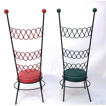 Pair of High Chairs in the Style of Jean Royère, Iron and Original Skai, France.