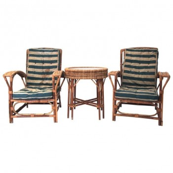 Set of Four Chairs and Center Table, Rattan, circa 1960, France.