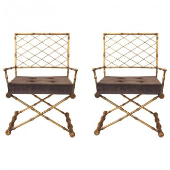 Pair of Armchairs, Antique Style, Gilded Iron, circa 1970, France.