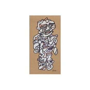 """Jean Dubuffet '1901-1985,' """"Personnage 1971,"""" Marker Pen on Paper, Signed."""