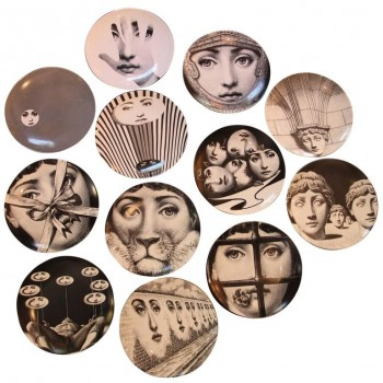 Fornasetti, Series of 12 Plates, Ceramic Enameled, Signed and Numerated.