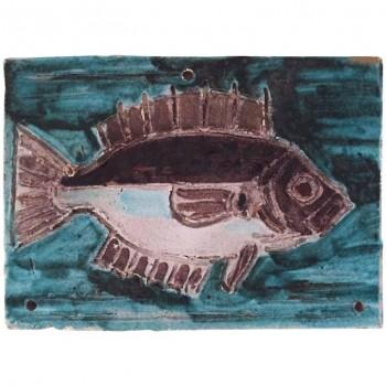 Albisola, plate, enameled ceramic signed, 1961, France.