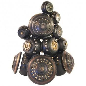 Georges Pelletier, Large black lamp, Ceramic, signed, Circa 1970, France.