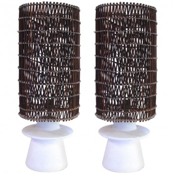 Style Jean-Michel Frank, Pair of Lamps, Plaster and Wicker, circa 2000, France.