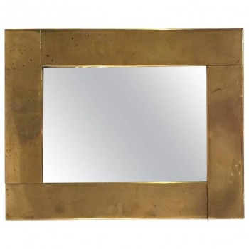 Classic Style Mirror by Gabriella Crespi, Gold-Plated Brass, circa 1970, France.