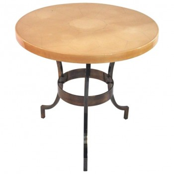 Maison Jansen, Pedestal Table, Lacquered Wood and Iron Base, France, circa 1970.