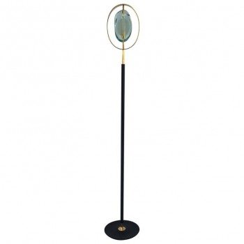 Max Ingrand, Floor Lamp, Glazed Iron, Glass and Gilded Brass, circa 1970, France.