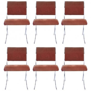 Maison Jansen, Suite of six chairs, metal, Circa 1960, France.