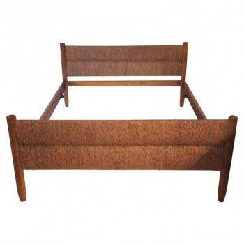 "Charlotte Perriand, ""Meribel"" Bed, Wood and Wicker, circa 1956, France."