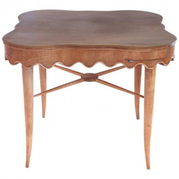 Paolo Buffa Bridge Table in Sycamore, circa 1940, France.