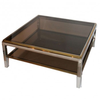 Gilt Brass And Chrome Steel Coffee Table in The Style of Willy Rizzo, Circa 1970