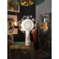 Georges Pelletier, Pair of table Lamps, White Ceramic, Signed, circa 1970, France.