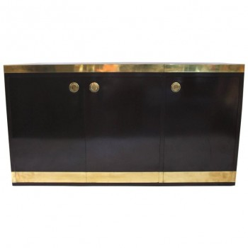 Willy Rizzo Sideboard with Bar, Formica and Gilded Brass, circa 1970.