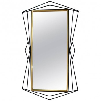 Ferrabini Giovanni, Mirror, Gold-Plated Brass and Black Lacquer, circa 1970.