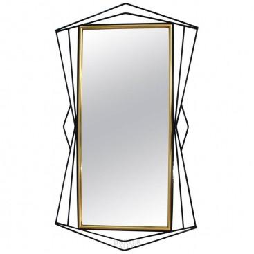 Ferrabini Giovanni, Mirror, Gold-Plated Brass and Black Lacquer, circa 1970.