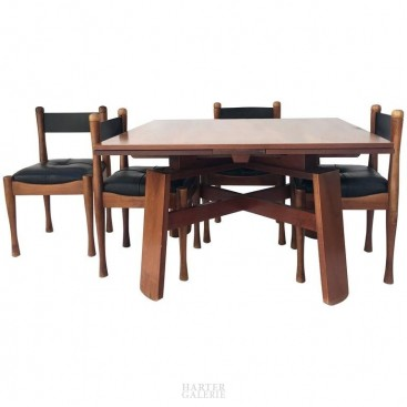Silvio Coppola, Dining Table with Four Chairs, Bernini Edition, Signed, 1960.