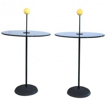 Pierluigi Cerri for Fontana Arte, Pair of Petist Pedestal Tables, circa 1980.