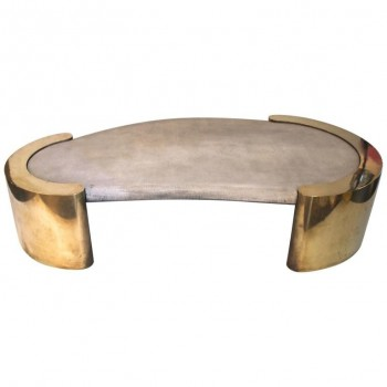 Italian Coffee Table, Gold-Plated Brass and Plastic Coating.