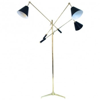 Angelo Lelli, Triennial floor lamp, signed, Brass and lacquered sheet, circa 1980, Italy.