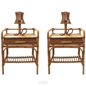 Audoux-Minet, Pair of Bedside Tables with His Lamp, circa 1970, France