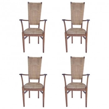 Audoux-Minet, Suite of Four Armchairs, Rattan and Wood, circa 1970, France.
