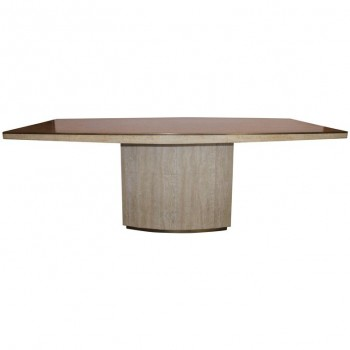 Willy Rizzo, Large dining table, Marble and strapping in gilt brass, Circa 1970.