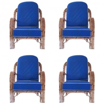 Audoux-Minet, Suite of Four Armchairs, Rattan, circa 1960, France.
