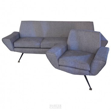Minotti, Living room with a sofa and two armchairs, circa 1960, Italy.